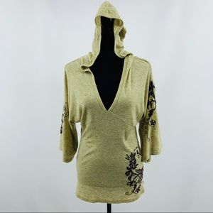 Enti Tan and Brown Embroidered V Neck Hoodie